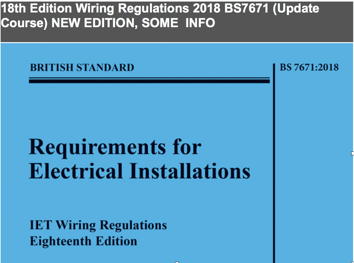 18th edition wiring regulations for wiring installations